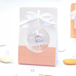 Porte boule + boule dragées thème hiboux orange