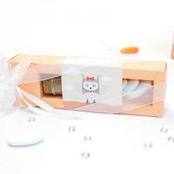 Boîte à dragées avec éprouvette hiboux