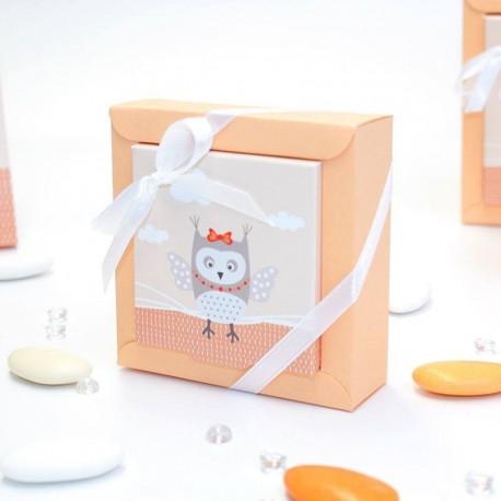 Petite boîte à dragées thème hiboux orange