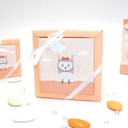 Grande boîte à dragées thème hiboux orange
