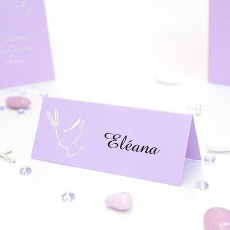 Carte de table colombe lilas et argent