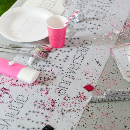 Chemin de table anniversaire gris