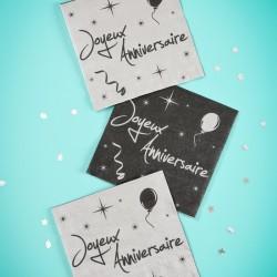 20 serviettes de table anniversaire argent