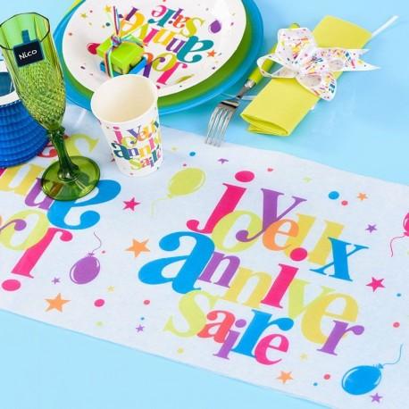 Chemin de table anniversaire multicolore