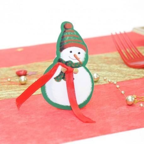 Etiquette cadeaux de Noël bonhomme de neige