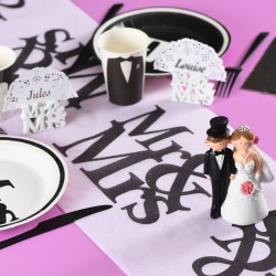 Chemin de table Mr & Mrs Blanc et noir