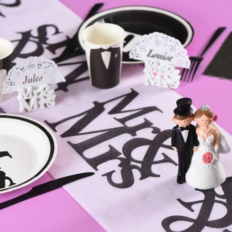 Chemin de table Mr & Mrs Blanc et noir