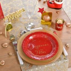 10 Assiettes rondes rouge joyeuses fêtes
