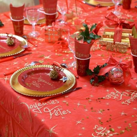 Nappe rectangulaire rouge joyeuses fêtes