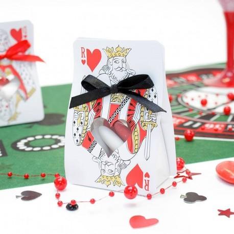 Contenant dragées roi de coeur thème casino