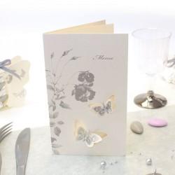Menu mariage thème papillon gris avec impression