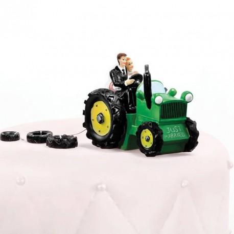 Figurine mariage en tracteur