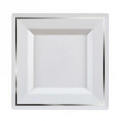 5 Assiettes carrée bordée argent 20,5 cm