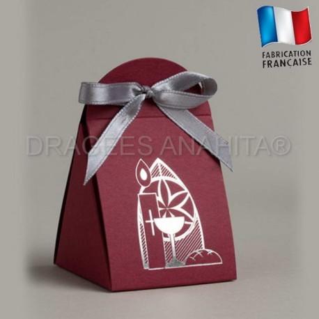 Emballage à dragées communion couleur bordeaux boite à dragées communion