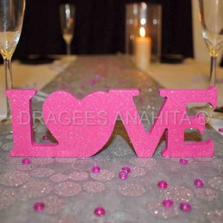 Centre de table LOVE fuchsia