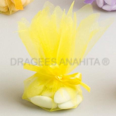 Tulle à dragées de couleur jaune tulle à dragées pour mariage