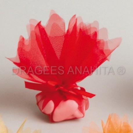 Tulle à dragées de couleur rouge tulle à dragées pour mariage