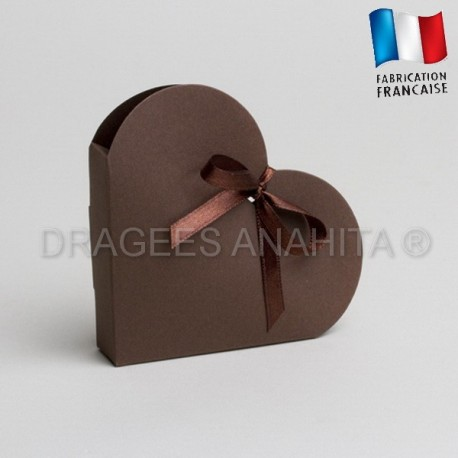 Contenant dragées coeur chocolat