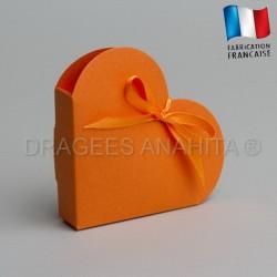 Contenant dragées coeur orange