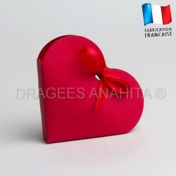 Contenant dragées coeur rouge