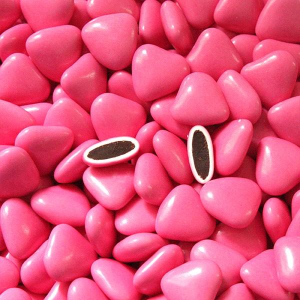 Dragées coeur chocolat fuchsia