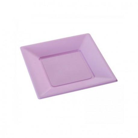 Assiette jetable lilas petite carrée X 12