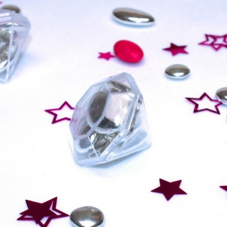 Contenant à dragées Diamant transparent