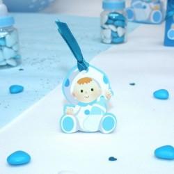 4 Etiquettes à dragées baptême bébé bleu