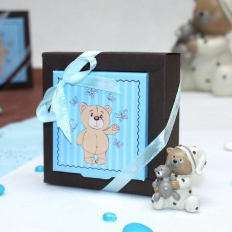 Boite à dragées carré ourson bleu