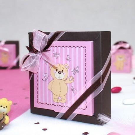 Grande boite à dragées carré ourson rose
