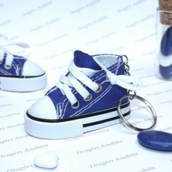 2 Baskets à dragées bleu avec porte clés