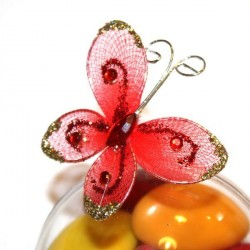 4 papillons rouge autocollants