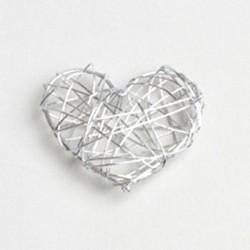 4  coeurs en métal argent
