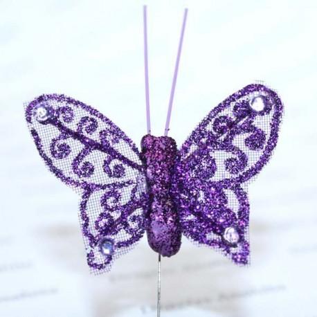 Papillon violet pailleté