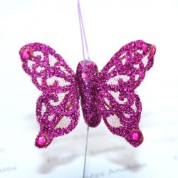 Papillon fuchsia pailleté