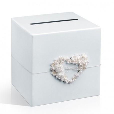 Urne coeur de fleur blanche