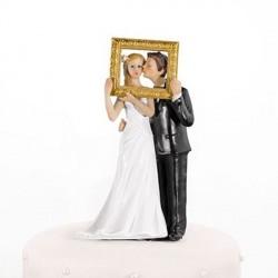 Figurine de mariage couple cadre