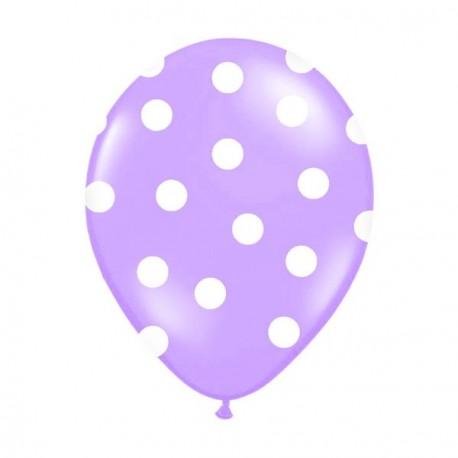 6 Ballons lilas pois blanc 36 cm
