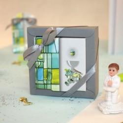 Boite carrée à dragées communion vitrail