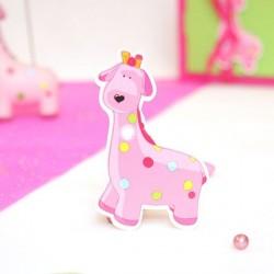 4 Etiquettes à dragées baptême girafe rose
