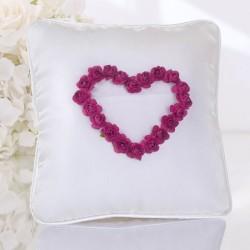Coussin porte alliance coeur de rose fuchsia