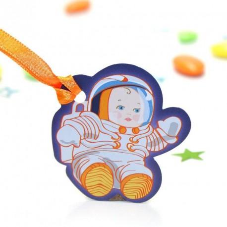 Etiquette pour contenant à dragées petit cosmonaute