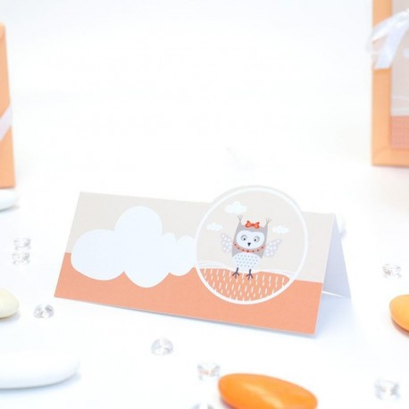 Carte de table thème hiboux orange