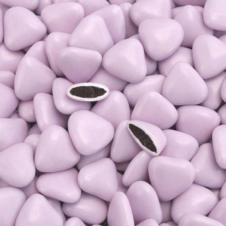 Dragées coeur chocolat lilas 1 Kg