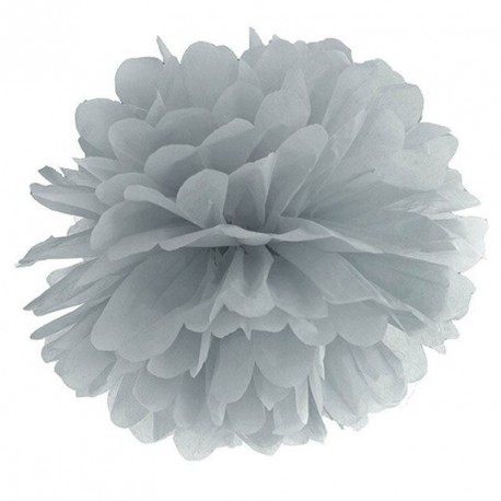 Pompon gris 35 cm