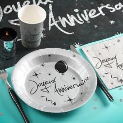 10 Assiettes jetables anniversaire argent
