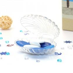 Contenant dragées coquillage transparent