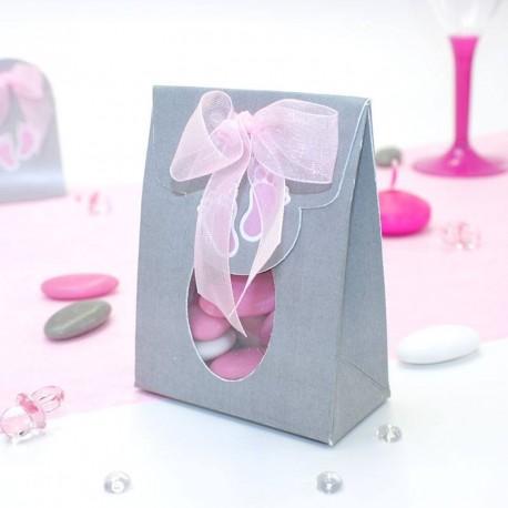Pochette à dragées pied de bébé rose