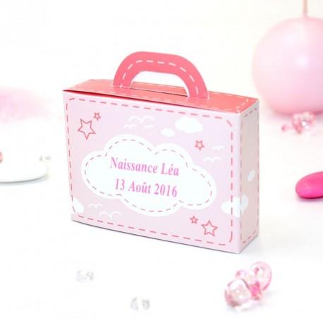 Contenant dragées valise rose