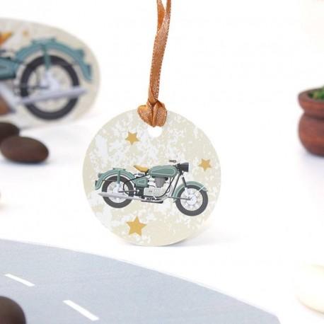Etiquette à dragées moto vintage